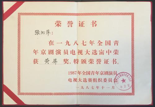 Award - 1987年全国青年京剧演员电视大选赛荧屏奖